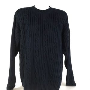 Dockers Mens Cable Ribbed Pullover Sweater Navy Xl
